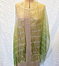 'VINTAGE' CHIC CHIFFON STOLE CREAM TO GREEN SILK FRINGE SCARF WRAP SHAWL... - $11.80