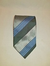 Kenneth Cole Black Silver Blue Diagonal Striped 100% Silk Men's Tie / Ne... - $14.80