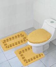 GorgeousHomeLinen (#5) 3 Piece Gold Embroidered Bathroom Bath Rug/Contou... - $17.20