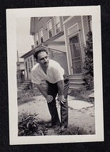 Antique Vintage Photograph Man Bending Over Holding Knees in Front of House - $5.94