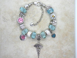 For the Nurse in Your Life European Murano Beaded Bracelet. Gift bag inc... - $19.95