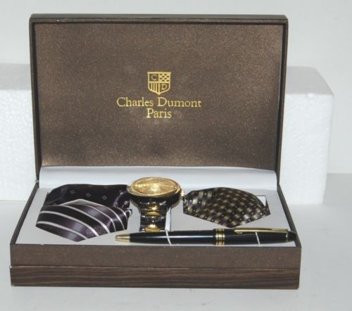 Charles Dumont Parid 1104 Watch Three Tie Pen Boxed Gift Set
