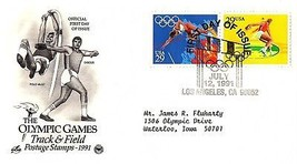 July 12, 1991 First Day of Issue, Postal Society Cover, Olympic Track & ... - $1.09