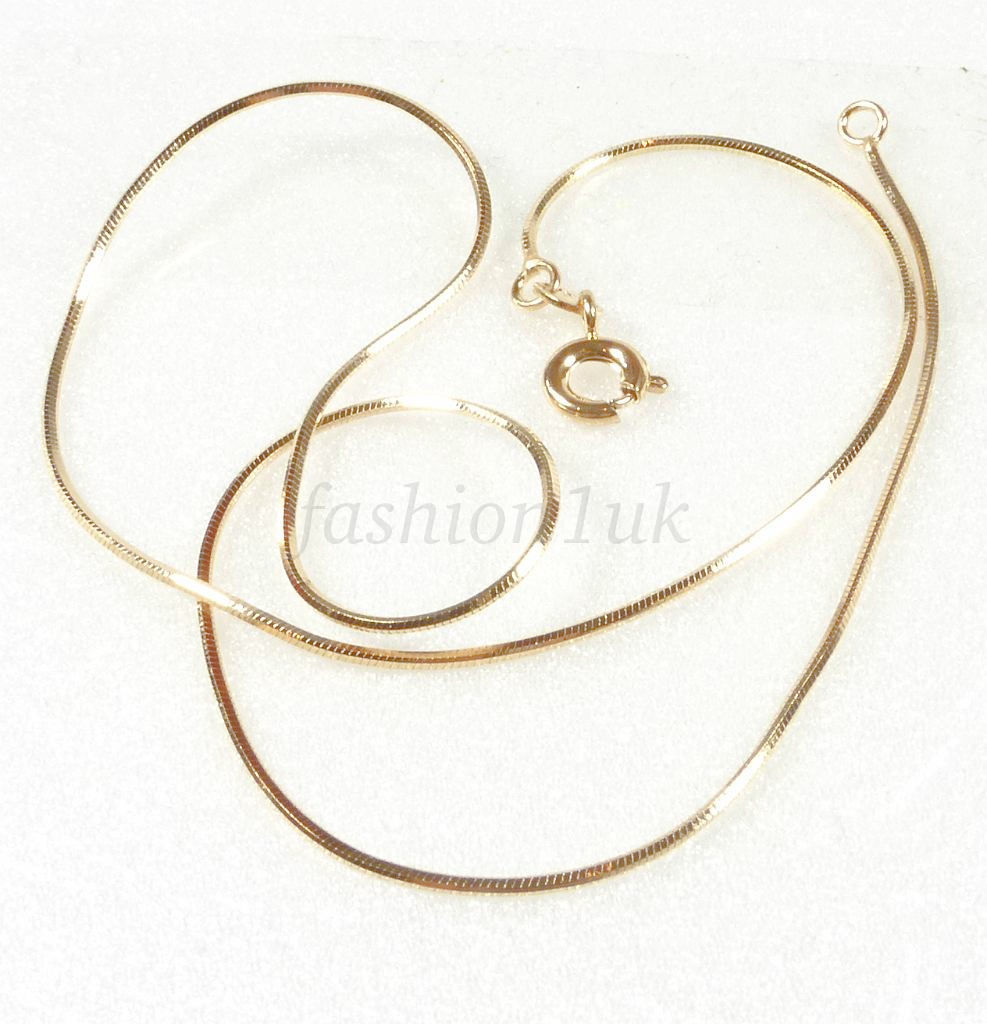 Small Short 35cm Shiny Snake Rope Cube Chain Necklace 18K Gold Plated