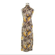 Midnight blue yellow paisley sleeveless vintage maxi dress S image 7