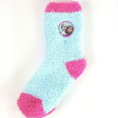 Disney Frozen Elsa Anna Little Girls Cozy Fuzzy Socks Size 7-9 Pink Blue NWT image 3