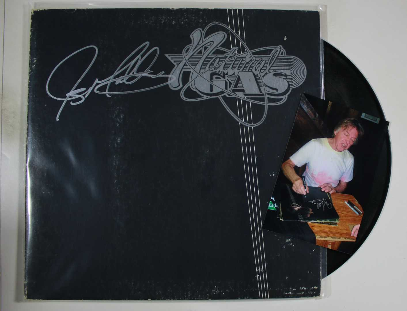 "Primary image for Joey Molland Signed Autographed ""Natural Gas"" Record Album w/ Proof Photo"