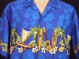 Blue Hawaii Mens Hawaiian Shirt sz 2XL Outriggers Surfboards Ukuleles Pa... - $28.04