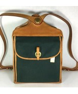 Dooney & Bourke Vintage Green Fabric Tan Leather Trim Backpack- Made In USA - $131.91