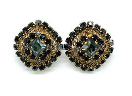 Vintage Schreiner Wire Filigree Gold Tone Paste Rhinestone Clip Earrings - $89.99