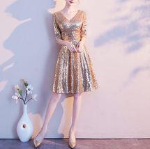 Knee Length Black Gold Sequin Dress Sleeved V Neck Sequin Dress Wedding Dress image 8