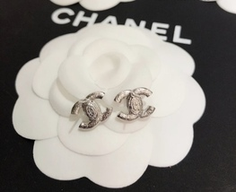 SALE***Authentic Chanel CC Logo Crystal Strass Silver Stud Earrings  image 10