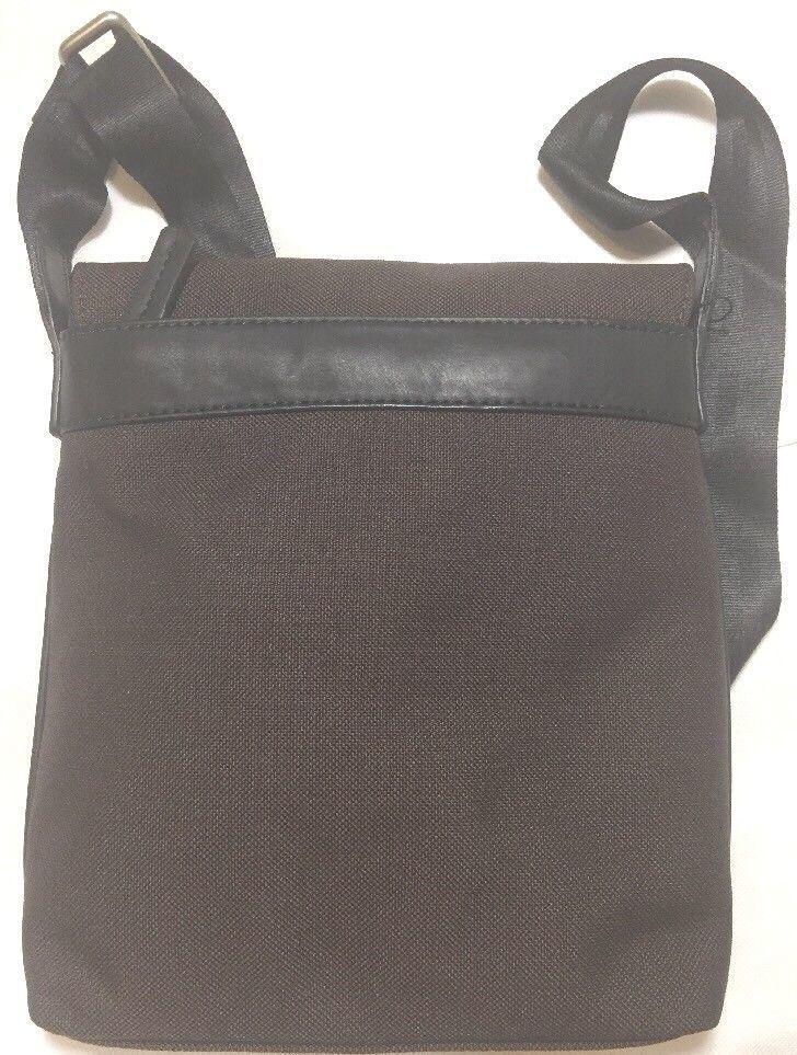 fossil merceir fin ville marron cuir toile petit sac à bandoulière