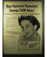 1949 Pepsodent Toothpaste Ad - New improved Pepsodent Sweeps Film Away - $14.99