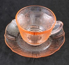 American Sweetheart Pink Cup and Saucer Set, made by MacBeth-Evans Glass Co - $12.00