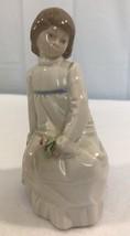 Vintage ENRIQUE G. NADAL Figurine GIRL ON A CUSHION Signed Figurine - $28.04