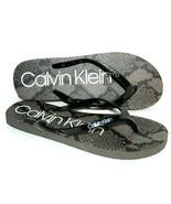 ✿ CALVIN KLEIN Sanica Snake-Print White Signature Flip-Flops 9 US 39 NEW... - $12.34