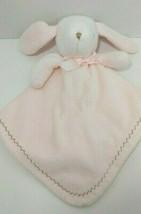 Blankets & Beyond Bunny rabbit Security Blanket pink brown zigzag stitching - $11.87