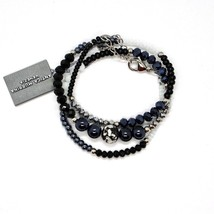 BRACELET ANTICA MURRINA VENEZIA WITH MURANO GLASS GREY BLACK SILVER BR77... - $40.05