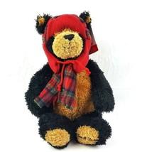 GUND Teddy B Caring Bear Plush Stuffed Office Depot Red Hat Plaid Scarf ... - $14.85