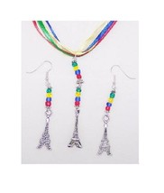 Necklace Earrings 3D Eiffel Tower Flat Charms Red Green Yellow Blue Ribb... - $20.00