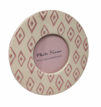 """Round Photo Picture Frame Pink Diamonds Baby Girl Table 6"""" Nursery Fits ... - $14.84"""