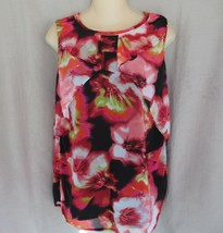 Worthington  top blouse ruffle  Medium  red floral sleeveless lined - $11.71