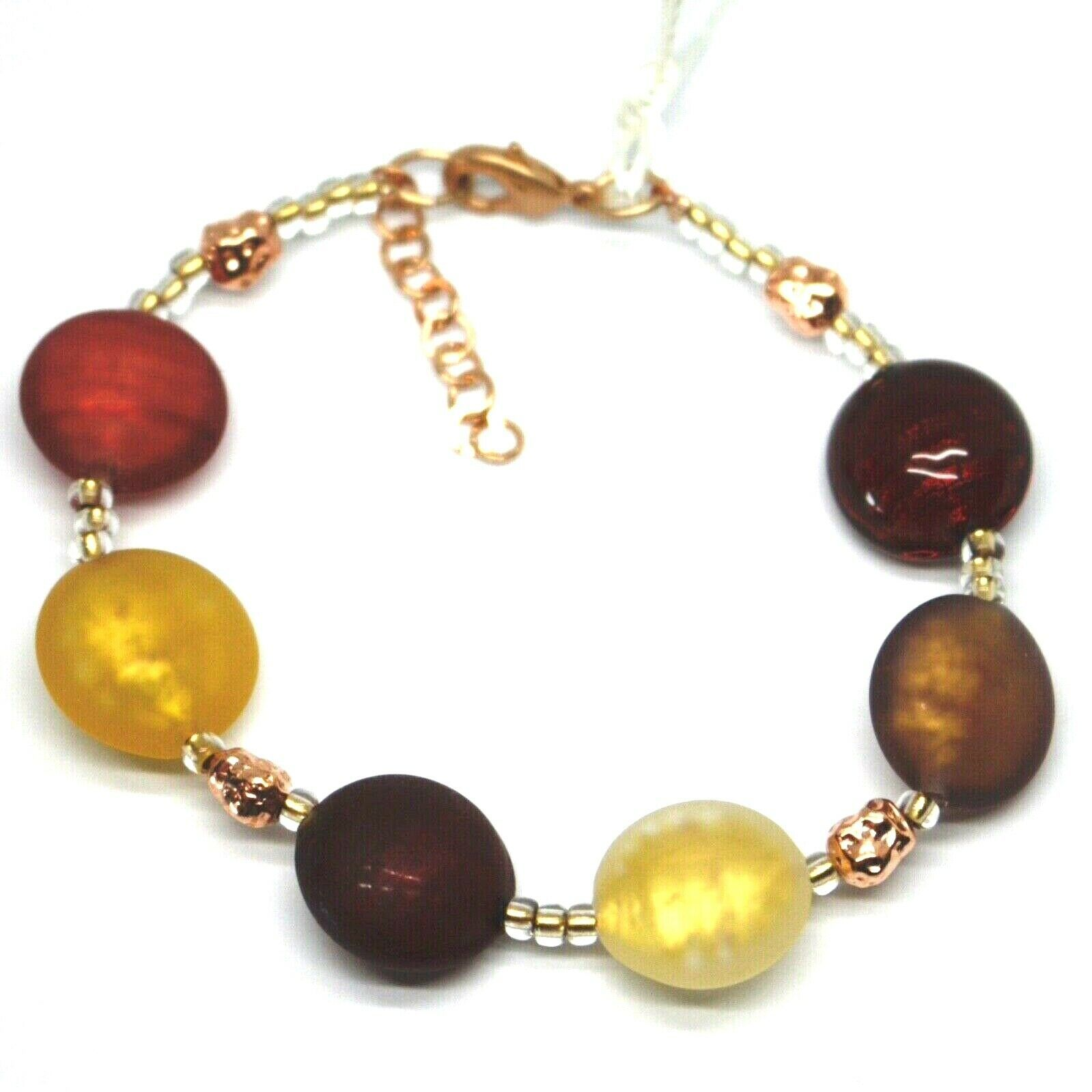 "BRACELET RED BROWN YELLOW ROUNDED MURANO GLASS DISC, 19cm, 7.5"", MADE IN ITALY"
