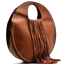 Handbag Republic Round Tote w/ Fringe Accent + Strap- Brown - $88.89