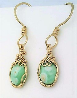 Variscite gold wire wrap earrings 8