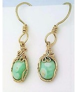 Variscite Gold Wire Wrap Earrings 8 - £34.41 GBP