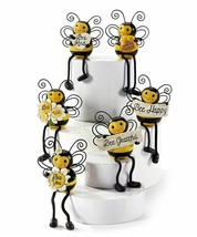 Set of 6 Bumble Bee with Dangly Legs Shelf Sitters with Sentiments Polystone