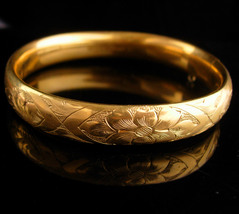 1900s Victorian bracelet / antique gold filled bangle / Hayward Hinged f... - $265.00