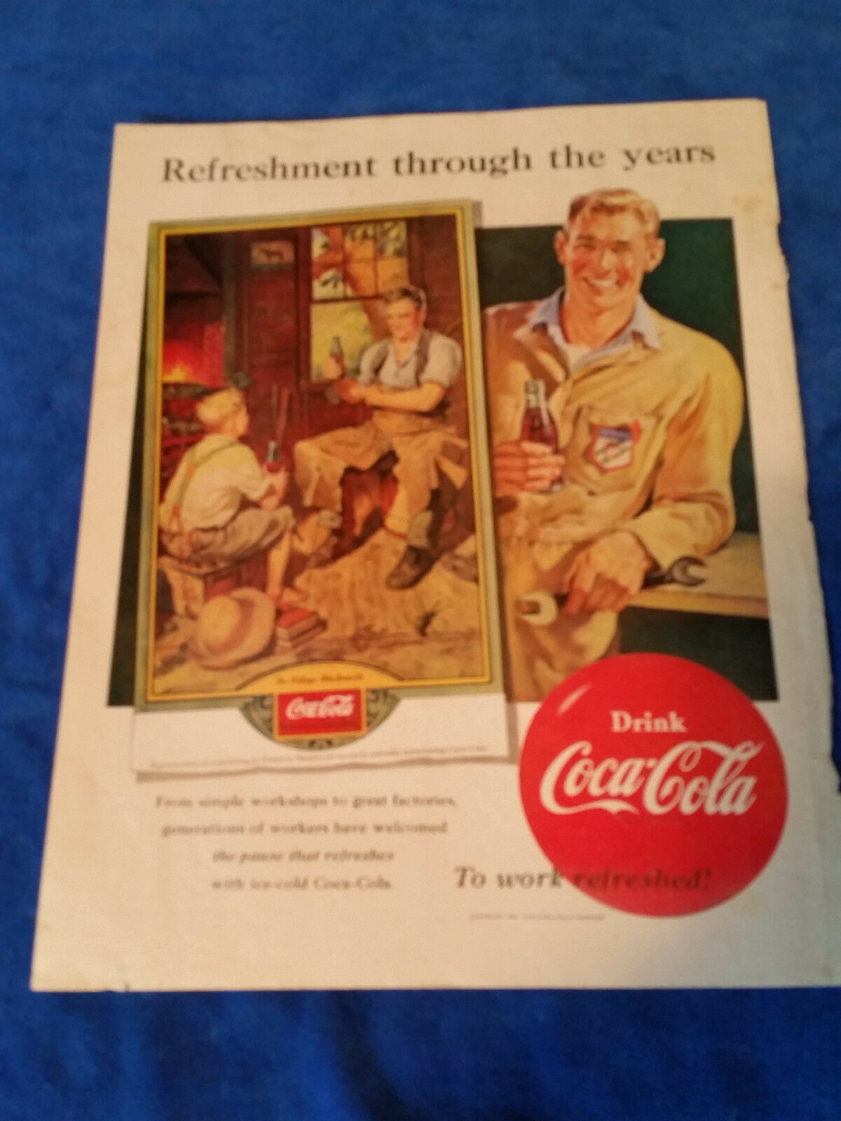 "Primary image for 1951 Original Coca Cola Magazine ad Refreshment Through The Years 10 1/2""x131/2"""