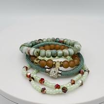 Five Green Brown Fashion Stretch Bracelets  - $20.00