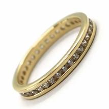 Gelbgold Ring 750 18K, Eternity Binär , Dicke 3 mm, Zirkonia Kubische image 1