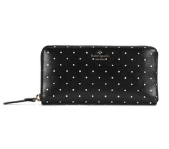 NWT KATE SPADE NEW YORK Brooks Drive Lacey Polka Dots Zip Wallet Black P... - $85.14