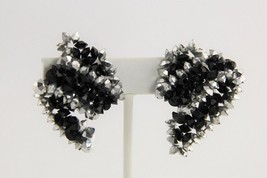 80's ESTATE Jewelry VINTAGE HAND WIRED BICONE CRYSTAL CLIP EARRINGS - $15.00