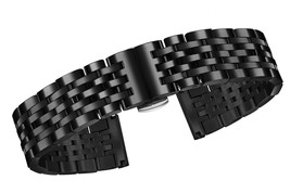 24mm High-end Black Metal Watch Band of Solid Stainless Steel with Both Curved E - $98.24