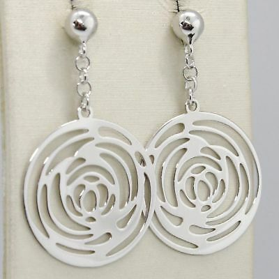 Drop Earrings White Gold 750 18K Polished and Pierced with Roses Made in Italy