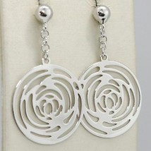 Drop Earrings White Gold 750 18K Polished and Pierced with Roses Made in Italy image 1