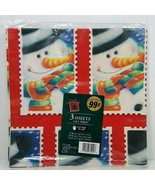 Vintage Cleo Wrapping Paper Christmas Snowman 3 Sheets 12.5 Square Feet ... - $9.99