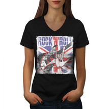 Rock Roll UK Metal Music Shirt Guitar UK Women V-Neck T-shirt - $12.99+