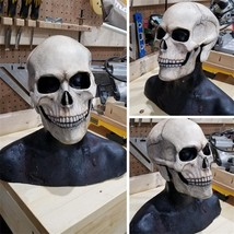 Full Head Skull Mask Helmet With Movable Jaw 3D Skeleton Skull Horror Ma... - $64.40+