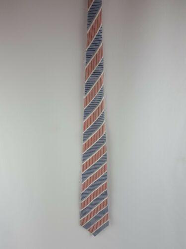 Geoffrey Beene Tie Silk Striped Orange White Blue Necktie image 2
