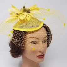 Yellow Fascinator w/Veil and Feathers, Headband, Wedding and Prom Access... - $24.99