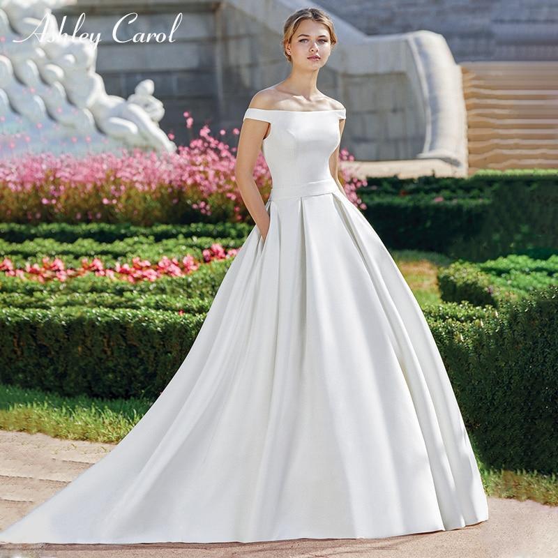Simple Wedding Dresses Boat Neck: Boat Neck Simple Satin Graceful French Off The Shoulder