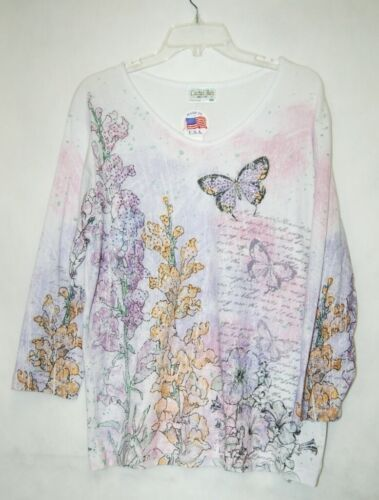 Cactus Bay Apparel Floral Butterfly Shirt XXL Size Pink Puple White Color