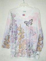 Cactus Bay Apparel Floral Butterfly Shirt XXL Size Pink Puple White Color image 1