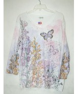 Cactus Bay Apparel Floral Butterfly Shirt XXL Size Pink Puple White Color - $29.99